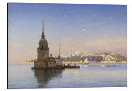 Stampa su alluminio  The Maiden's Tower (Maiden Tower) with Istanbul in the background - Carl Neumann