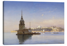 Stampa su tela  The Maiden's Tower (Maiden Tower) with Istanbul in the background - Carl Neumann