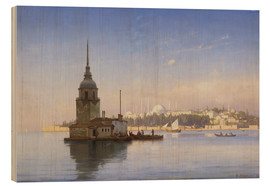 Stampa su legno  The Maiden's Tower (Maiden Tower) with Istanbul in the background - Carl Neumann