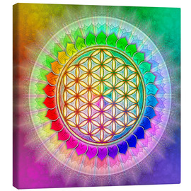 Tela  Flower of Life - Rainbow Lotus Artwork II - Dirk Czarnota