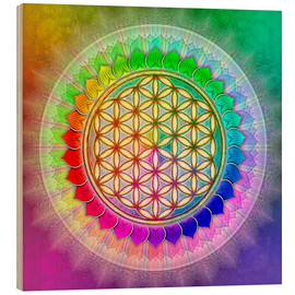 Legno  Flower of Life - Rainbow Lotus Artwork II - Dirk Czarnota