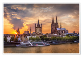 Poster Premium  Cologne Cathedral and Great St Martin - Jens Korte