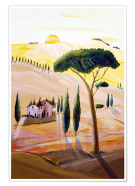 Poster Premium Tuscany in the morning