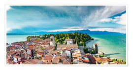 Poster Premium Sirmione in Italy, with Lake Garda