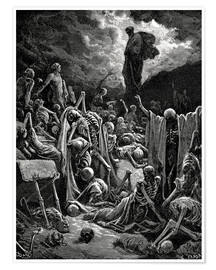 Poster  The Vision of The Valley of The Dry Bones - Gustave Doré