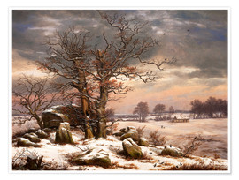 Poster Premium Megalithic grave in winter