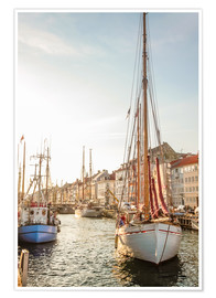 Poster Premium  Old sailing boat in evening light in Nyhavn in Copenhagen. Denmark - Christian Müringer
