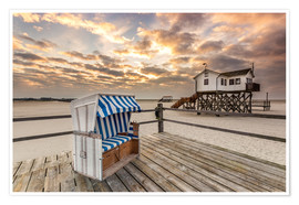 Poster Premium  In the morning the North Sea beach of Sankt Peter Ording - Dennis Stracke