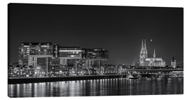 Stampa su tela  Cologne night Skyline black / white - rclassen