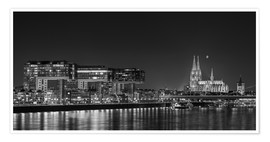 Poster Premium  Cologne night Skyline black / white - rclassen