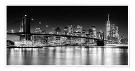 Poster Premium  Skyline di New York City con ponte di Brooklyn (in bianco e nero) - Sascha Kilmer