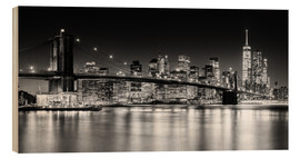 Stampa su legno  Skyline di New York City con ponte di Brooklyn (in bianco e nero) - Sascha Kilmer