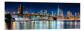 Stampa su schiuma dura  New York City Skyline with Brooklyn Bridge (panoramic view) - Sascha Kilmer