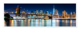 Poster Premium  Skyline di New York City con il Ponte di Brooklyn (vista panoramica) - Sascha Kilmer