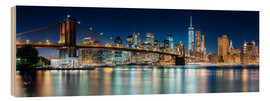Stampa su legno  Skyline di New York City con il Ponte di Brooklyn (vista panoramica) - Sascha Kilmer