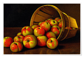 Poster Premium STILL LIFE WITH OVERTURNED BASKET OF APPLES