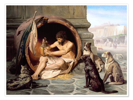 Poster  Diogenes in his barrel - Jean Leon Gerome