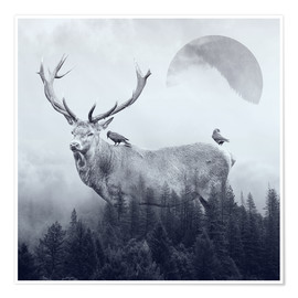 Poster Premium  deer autumn - Peg Essert