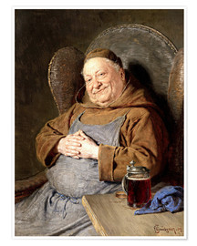 Poster Premium  Sitting monk with tankards - Eduard Grützner