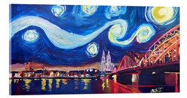 Stampa su vetro acrilico  Starry Night in Cologne - Van Gogh inspirations on Rhine with Cathedral and Hohenzollern Bridge - M. Bleichner