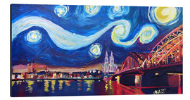 Stampa su alluminio  Starry Night in Cologne - Van Gogh inspirations on Rhine with Cathedral and Hohenzollern Bridge - M. Bleichner