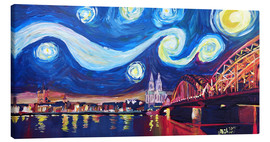 Stampa su tela  Starry Night in Cologne - Van Gogh inspirations on Rhine with Cathedral and Hohenzollern Bridge - M. Bleichner