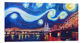 Stampa su PVC  Starry Night in Cologne - Van Gogh inspirations on Rhine with Cathedral and Hohenzollern Bridge - M. Bleichner