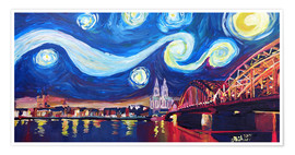 Poster Premium  Starry Night in Cologne - Van Gogh inspirations on Rhine with Cathedral and Hohenzollern Bridge - M. Bleichner