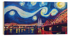 Stampa su legno  Starry Night in Cologne - Van Gogh inspirations on Rhine with Cathedral and Hohenzollern Bridge - M. Bleichner