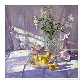Poster Premium  Still Life Flowers and Lemons - Timothy Easton