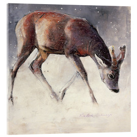 Stampa su vetro acrilico  Jung deer in winter - Mark Adlington