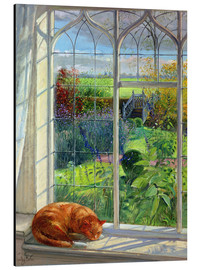 Stampa su alluminio  Gatto alla finestra, estate - Timothy Easton