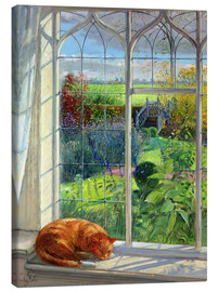 Stampa su tela  Gatto alla finestra, estate - Timothy Easton