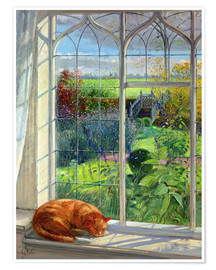 Poster Premium  Gatto alla finestra, estate - Timothy Easton