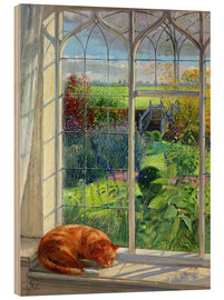 Stampa su legno  Gatto alla finestra, estate - Timothy Easton