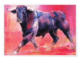 Poster  Trotting bull - Mark Adlington
