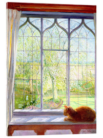 Stampa su vetro acrilico  Cat in window in spring - Timothy Easton