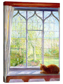 Stampa su tela  Cat in window in spring - Timothy Easton