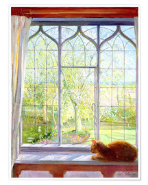 Poster Premium  Cat in window in spring - Timothy Easton