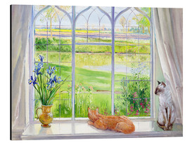 Stampa su alluminio  Cats at the window - Timothy Easton