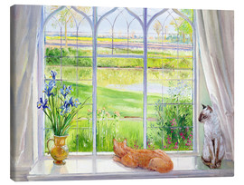 Stampa su tela  Cats at the window - Timothy Easton