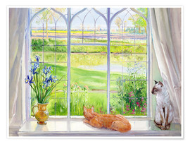 Poster Premium  Cats at the window - Timothy Easton