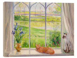 Stampa su legno  Cats at the window - Timothy Easton