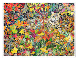 Poster Premium  Tabby in foglie di autunno, 1996 - Hilary Jones