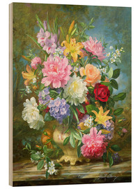 Stampa su legno  Peonies and mixed flowers - Albert Williams