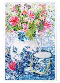Joan Thewsey - Gerberas in a Coalport Jug with Blue Pots