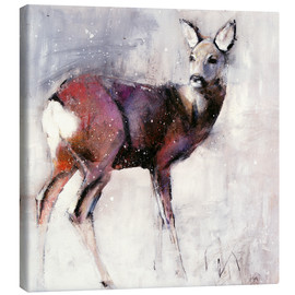Stampa su tela  Shy deer in the snow - Mark Adlington