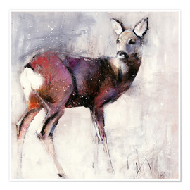 Poster Premium  Shy deer in the snow - Mark Adlington