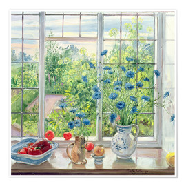 Poster Premium  Cornflowers and Kitchen Garden - Timothy Easton