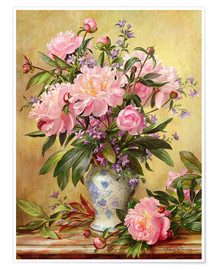 Poster Premium  Vase of Peonies and Canterbury Bells - Albert Williams